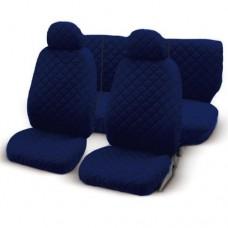 Coprisedili cotone trapuntato con zip - blu scuro