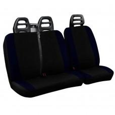 Coprisedili per furgone 3 posti cotone bicolore nero blu scuro - cintura alta