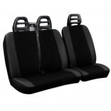 Coprisedili per furgone 3 posti cotone bicolore nero grigio scuro - cintura alta