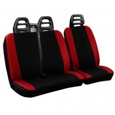 Coprisedili per furgone 3 posti cotone bicolore nero rosso - cintura alta