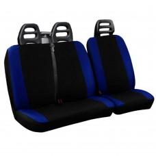 Coprisedili per furgone 3 posti cotone bicolore nero blu royal - cintura alta