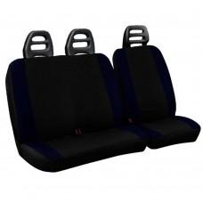Coprisedili per furgone 3 posti cotone bicolore nero blu scuro - cintura bassa