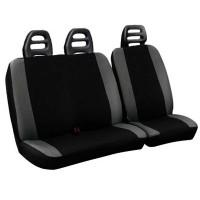 Coprisedili per furgone 3 posti cotone bicolore nero grigio chiaro - cintura bassa