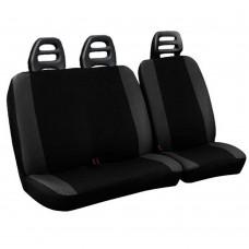 Coprisedili per furgone 3 posti cotone bicolore nero grigio scuro - cintura bassa