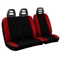 Coprisedili per furgone 3 posti cotone bicolore nero rosso - cintura bassa