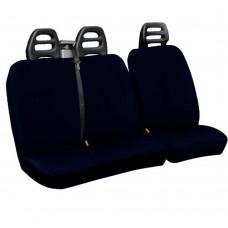 Coprisedili per furgone 3 posti cotone blu - cintura alta