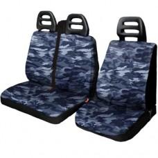 Coprisedili per furgone 3 posti cotone cintura alta - Mimetico blu