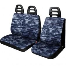 Coprisedili per furgone 3 posti cotone cintura bassa - Mimetico blu