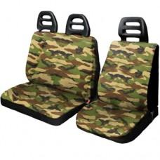 Coprisedili per furgone 3 posti cotone cintura bassa - Mimetico classico