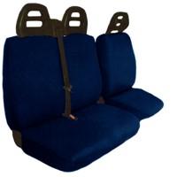 Coprisedili furgone 3 posti cintura alta - cotone trapuntato blu