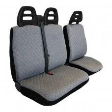 Coprisedili furgone 3 posti cintura alta - cotone trapuntato grigio chiaro