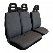 Coprisedili furgone 3 posti cintura alta - cotone trapuntato grigio scuro
