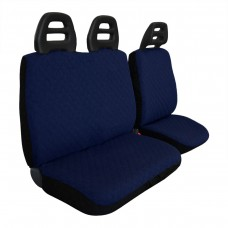 Coprisedili furgone 3 posti cintura bassa - cotone trapuntato blu