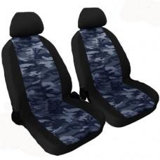 Coprisedili coppia anteriori per auto bicolore militare blu