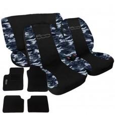Coprisedili 500 bicolore nero-mimetico blu con tappetini in moquette