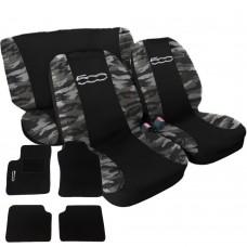 Coprisedili 500 bicolore nero-mimetico chiaro con tappetini in moquette