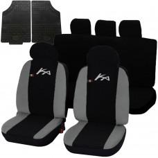 Coprisedili Ford Ka bicolore nero - grigio chiaro con tappetini in gomma