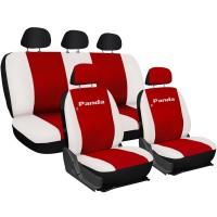 Coprisedili Fiat Panda in ecopelle con posteriore intero rosso - bianco
