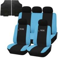Coprisedili e tappetini in gomma per auto universali - Racing nero - azzurro