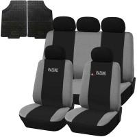 Coprisedili e tappetini in gomma per auto universali - Racing nero - grigio chiaro