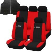 Coprisedili e tappetini in gomma per auto universali - Racing nero - rosso