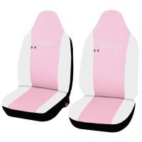 Coprisedili in ecopelle Smart fortwo - terza serie - bicolore rosa - bianco