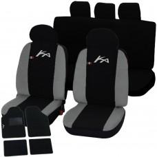 Coprisedili Ford Ka bicolore nero - grigio chiaro con tappetini moquette