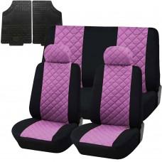 Coprisedili trapuntato universali con tappetini gomma - rosa nero