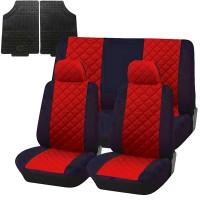 Coprisedili trapuntato universali con tappetini in gomma - rosso nero
