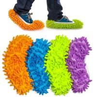 2 o 4 Paia di Copriscarpe Pantofole Mop in Microfibra Unisex utilizzabili per spolverare e lucidare pavimenti
