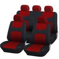 Coprisedili universali A18 con coprivolante, 2 copricinture rosso - nero