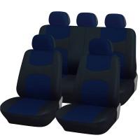Coprisedili universali A18 con coprivolante, 2 copricinture blu royal - nero
