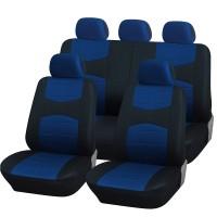 Coprisedili universali A18 con coprivolante, 2 copricinture blu chiaro - nero