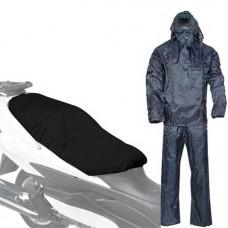 Completo Tuta impermeabile giacca pantalone taglia L + telo copri sella moto bici scooter