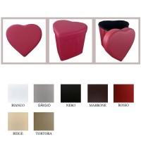 Pouf scatola portaoggetti puff poggiapiedi a forma di cuore in ecopelle 638420