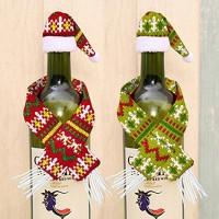 Copribottiglia natalizio sciarpa con cappello - 6pz - con colori casuali rosso e verde