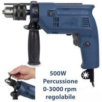 Trapano a percussione elettrico 500w con incluso 2 set di punte per metallo e cemento TG13
