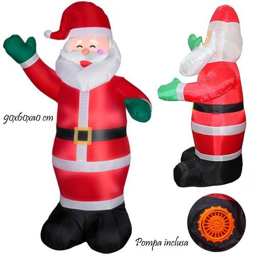 Babbo Natale 90 Cm.Babbo Natale Gonfiabile Con Pompa Integrata 90cm Mod 52053