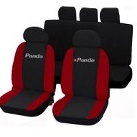 Coprisedili Fiat Panda nuova con logo bicolore nero - rosso 50-50