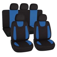Coprisedili universali in poliestere adattabili a tutte le auto con sedili standard - con 2 zip sui schienali posteriori - modello N - BLU CHIARO
