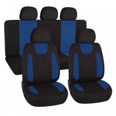 Coprisedili universali in poliestere adattabili a tutte le auto con sedili standard - con 2 zip sui schienali posteriori - modello N - BLU SCURO