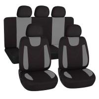 Coprisedili universali in poliestere adattabili a tutte le auto con sedili standard - con 2 zip sui schienali posteriori - modello N - GRIGIO