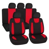 Coprisedili universali in poliestere adattabili a tutte le auto con sedili standard - con 2 zip sui schienali posteriori - modello N - ROSSO