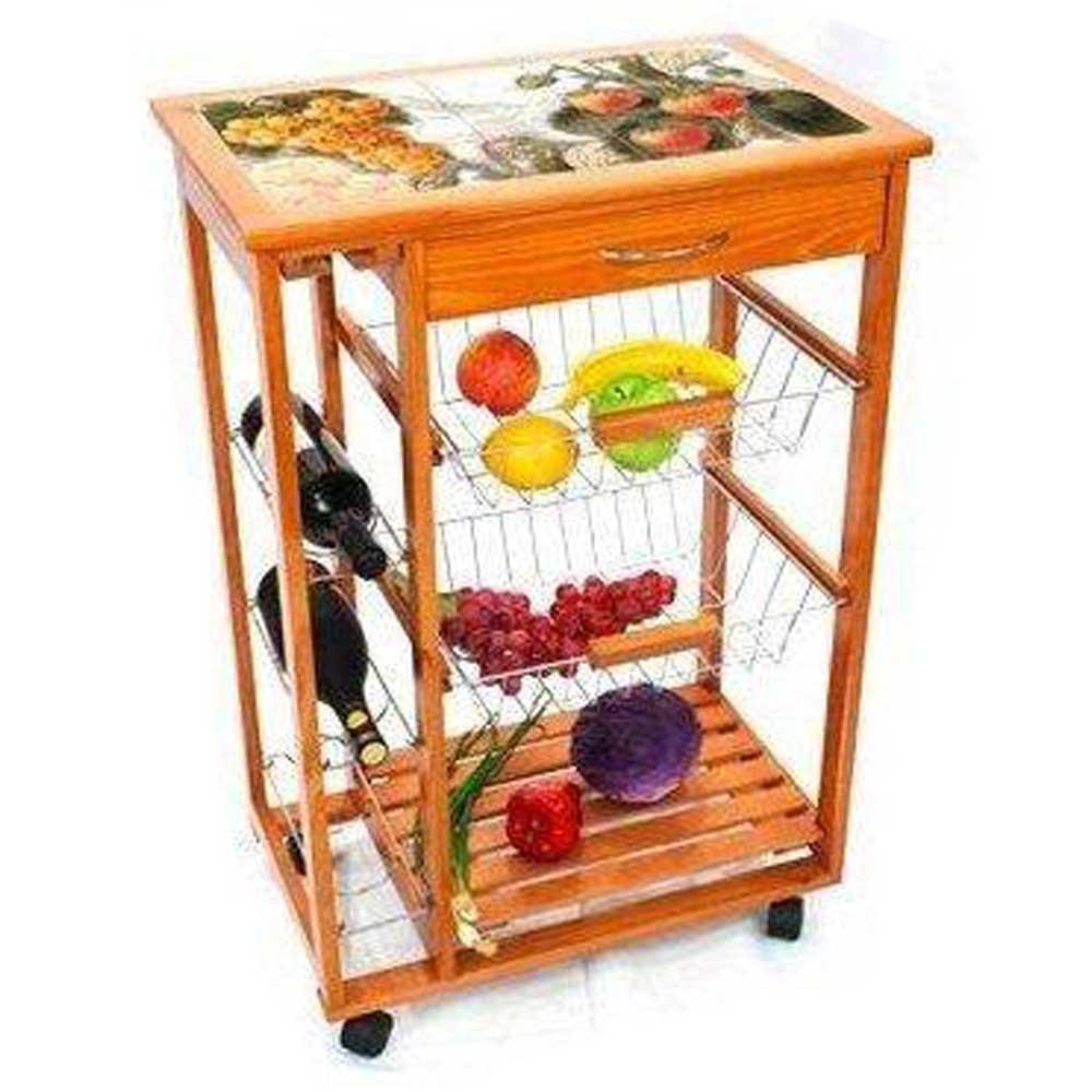 Carrello cucina in legno piano in ceramica 15 mattonelle - Articoli per cucina ...