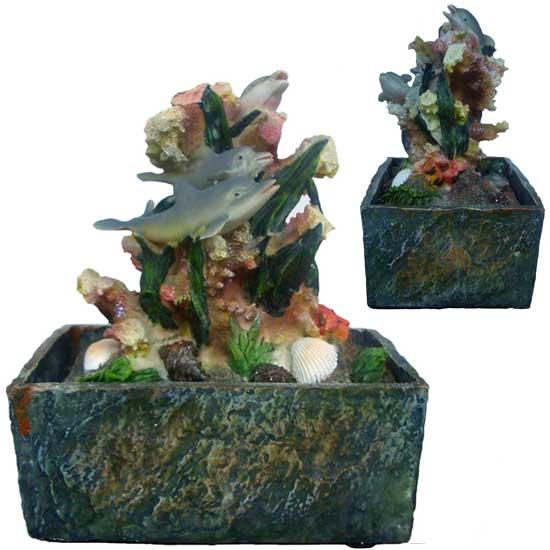 Fontana zen in resina delfini corallo idea regalo ebay for Fontana zen