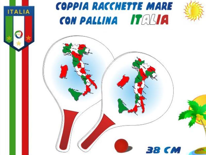 Racchetta da spiaggia cartina Italia mare coppia con pallina